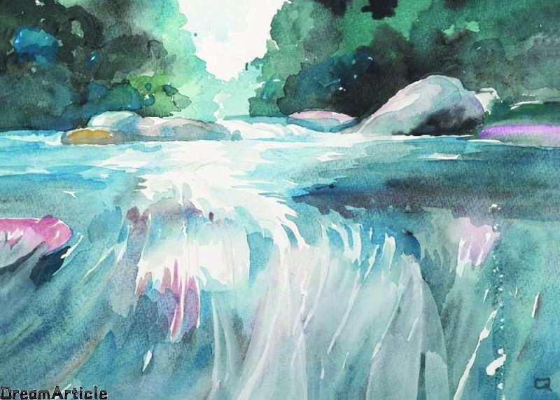 超级简单临摹水彩画风景 www.seupress.com 宽800x571高